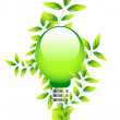 Stock Vector: Nature light bulb icon