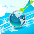 Blue Christmas wavy lines background — Stock Vector