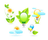 Nature and electricity icons — Stock Vector