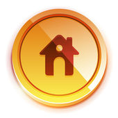 Glossy orange home button — Vettoriale Stock