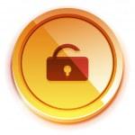 Glossy bright unlock button — Stock Vector #9171267