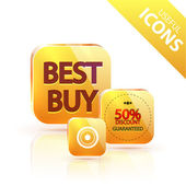 Glossy yellow orange metallic button — Vector de stock