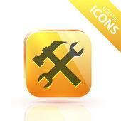 Glossy yellow orange metallic button — Stock Vector