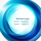 Blue swirl login page — Stock Vector
