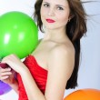 Stock Photo: Bright beautiful girl with air ball