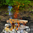 Overheated coal in campfires — Stock Photo