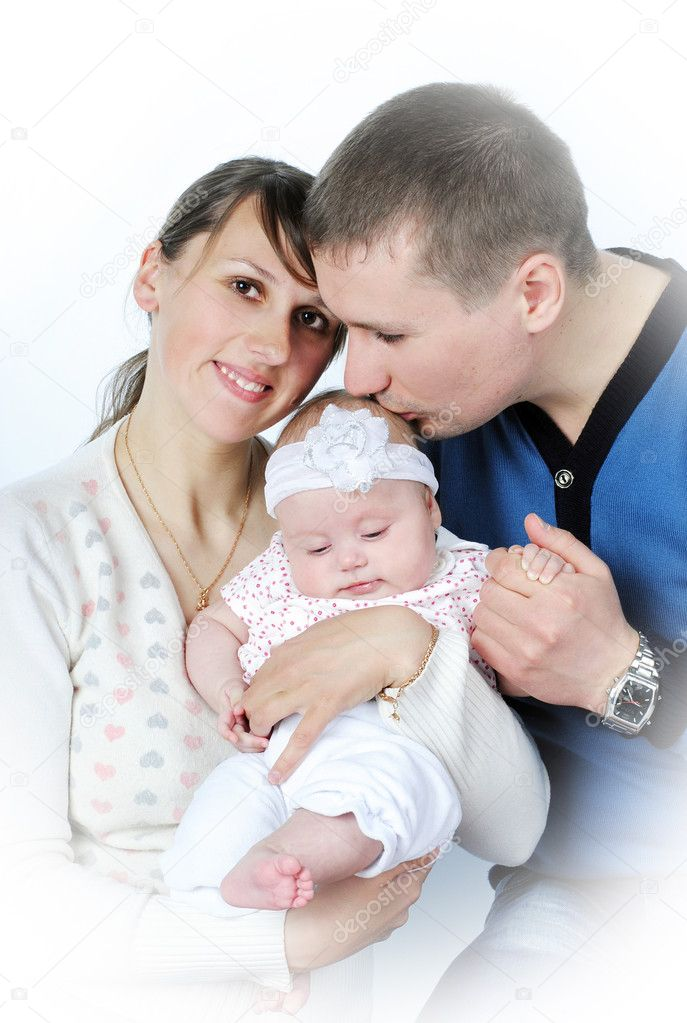 Lucky making look younger family with small breast child in aspic on white background — Stock Photo #10454099