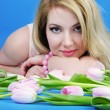 Portrait beautiful girl with rose tulip — Stock Photo