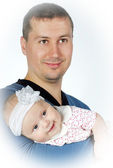 Lucky young father with breast child — Stock Photo