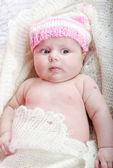 Small beautiful newborn girl — Stock Photo