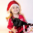The little girl in a New Year's hat with a gift a puppy — Stock Photo #8020292