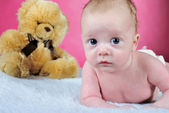 The little boy with the big eyes naked a pink background with a — Стоковое фото