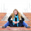 The young beautiful girl on a bench — Stock Photo #8370197