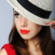 Beautiful girl in white hat — Stock Photo