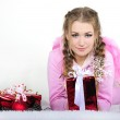 The young beautiful girl an angel with gifts — Stock Photo #9402399