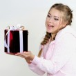The young beautiful girl an angel with gifts — Stock Photo #9402415