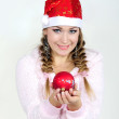 The young beautiful girl an angel with gifts — Stock Photo #9402419