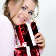 The young beautiful girl an angel with gifts — Stock Photo