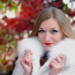 The young beautiful girl in a white fur coat with red lipstick - Stock Photo