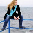 Stock Photo: The young beautiful girl near the sea