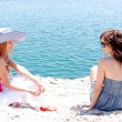 Stock Photo: Two girls at seaside