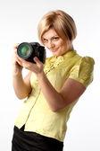 Girl-photographer — Stock Photo