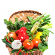 Fresh vegetables in basket isolated on white — Stock Photo
