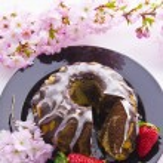 Marble cake with cherries — Stock Photo