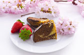 Marble cake with cherries — Stock Photo