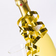 Champagne, glass and New Year's Eve — Stock Photo