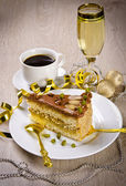 Halva cake, Kaffe and champagne — Stockfoto
