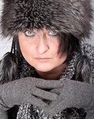 Woman with fur cap — Stock Photo