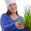 Stock Photo: Woman with chives