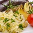 Krupniok traditional blood sausage in Polish cuisine — Stock Photo