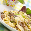 Royalty-Free Stock Photo: Tagliatelle with tail steak stripe and champignons