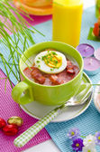 Polish Easter sour dough soup — Stock Photo