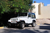 Jeep in the shade of the acacia trees. — Stock Photo