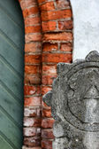 Element of the facade of the house of three brothers in Riga — Stock Photo
