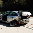 Damaged Car after  accident at the higway - Stockfoto