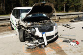 Damaged Car after accident at the higway — Stock Photo