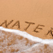 Inscription water on the sand at the beach — Stock Photo