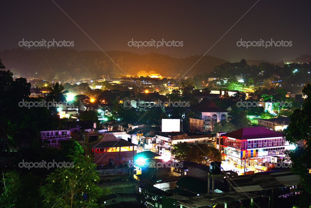Night city of Kandy, Sri-Lanka — Stock Photo #8125878