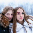 Two smiling girls in the winter forest — Stock Photo