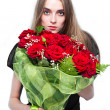 Beautiful Woman with red Roses — Stock Photo