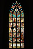 Stained glass window in old church — Stockfoto