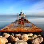 Boat with bulldozer — Stock Photo