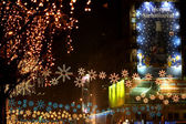 Christmas decorations and lights in Bucarest — Stock Photo