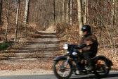 Danish landscape and motorbike — Stock Photo
