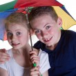 Kid with umbrella — Stock Photo
