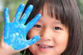 Child & painting job — Stock Photo